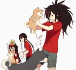 1girl 2boys bangs black_hair black_headwear breasts brother_and_sister closed_eyes dog family_crest fate/grand_order fate_(series) fiery_hair hair_over_one_eye hat kodamari koha-ace long_hair multiple_boys multiple_persona oda_kippoushi_(fate) oda_nobukatsu_(fate) oda_nobunaga_(fate) oda_nobunaga_(fate)_(all) oda_uri open_mouth peaked_cap ponytail red_eyes red_shirt shiba_inu shirt short_sleeves shorts siblings sidelocks small_breasts smile very_long_hair