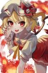 1girl :d absurdres ascot bangs bent_over blonde_hair bow crystal eyebrows_visible_through_hair fire flandre_scarlet hat hat_bow highres katsukare looking_at_viewer mob_cap open_mouth pointy_ears red_bow red_eyes red_nails red_skirt red_vest shirt short_hair side_ponytail skirt smile solo teeth touhou twitter_username vest white_background white_headwear white_shirt wings wrist_cuffs yellow_neckwear