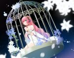 1girl bangs bare_shoulders birdcage blue_eyes blurry blurry_foreground bracer breasts cage collarbone crypton_future_media dress eyebrows_visible_through_hair flower hair_between_eyes hands_clasped headphones highres kneeling long_hair looking_away mamo_(fortune-mm) medium_breasts megurine_luka night night_sky own_hands_together pink_hair sky sleeveless sleeveless_dress solo star_(sky) starry_sky very_long_hair vocaloid white_dress white_flower