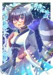 :d animal_ear_fluff animal_ears bangs black_hair black_hakama breasts brown_gloves crescent eyebrows_visible_through_hair fingerless_gloves glasses gloves hair_between_eyes hair_intakes hakama hand_up indie_virtual_youtuber japanese_clothes kimono kouu_hiyoyo long_sleeves looking_at_viewer open_clothes open_mouth raccoon_ears raccoon_girl raccoon_tail red-framed_eyewear semi-rimless_eyewear short_hair small_breasts smile sparkle striped_tail tail tail_raised under-rim_eyewear violet_eyes virtual_youtuber white_kimono wide_sleeves yozora_aoi