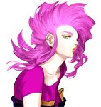 1girl floating_hair green_eyes highres jojo_no_kimyou_na_bouken looking_at_viewer medium_hair parted_lips pink_hair profile purin_(iddunpg) purple_shirt shadow shirt short_sleeves simple_background solo trish_una upper_body vento_aureo white_background