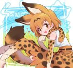 1girl :3 :d animal_ear_fluff animal_ears bangs bare_shoulders belt blush breasts brown_eyes character_name commentary_request elbow_gloves eyebrows_visible_through_hair feet_out_of_frame from_side gloves hair_between_eyes hand_up kemono_friends knees_up leaning_forward looking_at_viewer medium_breasts motion_lines open_mouth orange_hair orange_legwear orange_skirt paw_pose serval_(kemono_friends) serval_ears serval_print serval_tail short_hair simple_background sitting skirt smile solo tail tank_top thigh-highs utsuro_atomo white_tank_top
