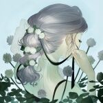 1girl absurdres blue_background flower from_behind grey_hair highres leaf long_hair mu_mashu multi-tied_hair original pink_nails plant ponytail simple_background solo upper_body white_flower