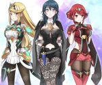 3girls absurdres arm_guards armor bangs black_cape blonde_hair blue_hair blush brown_legwear byleth_(fire_emblem) byleth_(fire_emblem)_(female) cape clothing_cutout corset dagger earrings emblem fingerless_gloves fire_emblem fire_emblem:_three_houses gloves hands_on_hips highres jewelry long_hair looking_at_viewer medium_hair multiple_girls mythra_(massive_melee)_(xenoblade) mythra_(xenoblade) navel_cutout pyra_(xenoblade) red_shorts redhead short_hair short_shorts shorts shoulder_armor sidelocks smile super_smash_bros. swept_bangs tiara underbust weapon xenoblade_chronicles_(series) xenoblade_chronicles_2 zero-theme