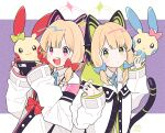 blonde_hair blue_archive cat_ear_headphones cat_tail commentary_request gen_3_pokemon hair_ribbon halo headphones highres jacket looking_at_viewer midori_(blue_archive) minun momoi_(blue_archive) namigon necktie open_mouth plusle pokemon pokemon_(creature) ribbon school_uniform short_hair siblings signature simple_background tail twins