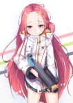 1girl :< blue_archive commentary_request forehead grenade_launcher hair_ornament hair_ribbon highres jacket long_hair looking_at_viewer redhead ribbon school_uniform simple_background solo sooottrick violet_eyes weapon white_background yuzu_(blue_archive)