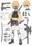 1girl bangs belt bike_shorts black_belt black_footwear black_shorts blonde_hair commentary_request english_text equipment_layout explosive eyepatch glaring gloves green_gloves grenade gun hand_on_hip handgun highres holding holding_gun holding_knife holding_weapon holster jacket knife kodachi kunai long_sleeves looking_at_viewer magazine_(weapon) mask mouth_mask ninja open_mouth original red_eyes rifle samaru_(seiga) scope shoes short_hair short_sword shorts smile smoke_grenade sneakers sniper_rifle standing suppressor sword thigh_strap translation_request utility_belt violet_eyes weapon weapon_on_back white_background yellow_jacket