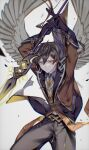 1boy arms_up bangs black_gloves black_hair brown_hair chromatic_aberration closed_mouth collared_shirt commentary_request crow_3434 earrings eyeliner feathered_wings formal genshin_impact gloves gradient_hair hair_between_eyes highres holding holding_spear holding_weapon jacket jewelry long_hair long_sleeves looking_at_viewer makeup male_focus multicolored_hair necktie polearm ponytail shirt simple_background single_earring solo spear suit tassel tassel_earrings weapon white_background wings yellow_eyes zhongli_(genshin_impact)