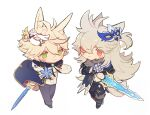 2boys :< alternate_costume animal_ears bangs bennett_(genshin_impact) blonde_hair blue_flower blush boots chibi closed_mouth fingerless_gloves flower genshin_impact gloves green_eyes hair_between_eyes highres holding holding_sword holding_weapon long_hair male_focus mask mask_on_head multiple_boys pants razor_(genshin_impact) red_eyes scar scar_across_eye scar_on_face shuangfeng simple_background smile standing sword tail torn_clothes torn_pants weapon white_background