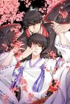 2boys black_hair cherry_blossoms clamp_(style) closed_mouth green_eyes hand_grab hand_on_another's_face hand_over_eye highres holding_hands japanese_clothes multiple_boys parted_lips sakurazuka_seishirou shari_(shari07) short_hair sumeragi_subaru upper_body wide_sleeves x_(manga) yellow_eyes