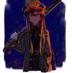 1girl bangs belt black_hair black_headwear black_jacket breasts buttons coat family_crest fate/grand_order fate_(series) gloves grey_coat gun hat jacket kodamari koha-ace long_hair long_sleeves looking_at_viewer oda_nobunaga_(fate) oda_nobunaga_(fate)_(all) oda_uri over_shoulder peaked_cap red_eyes rifle small_breasts weapon weapon_over_shoulder white_gloves