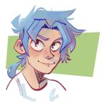 1boy bangs blue-haired_boy_(how_to_draw_manga) blue_eyes blush closed_mouth commentary derivative_work english_commentary gerald_villarroel_nitti green_background hair_intakes happy how_to_draw_manga jpeg_artifacts looking_up male_focus matching_hair/eyes medium_hair nose_blush ponytail shirt sidelocks simple_background sketch smile solo tied_hair two-tone_background upper_body white_shirt