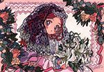 1girl blush brown_hair copyright_request dress flower highres holding holding_flower leaf long_hair looking_at_viewer orange_flower parted_lips pink_dress plant red_eyes samusu_gi solo upper_body veil white_flower