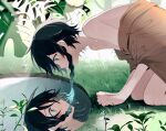 1boy androgynous bangs black_hair blue_hair braid brown_cloak cloak from_side genshin_impact gradient_hair grass green_eyes highres leaf looking_down male_focus monstera_deliciosa multicolored_hair open_mouth pool reflecting_pool ripples short_hair_with_long_locks solo twin_braids venti_(genshin_impact) water yoko_(nz_g)