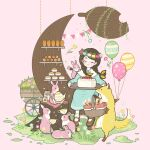 1girl aqua_dress aqua_flower balloon braid brown_hair cake closed_eyes dress flower food fork fox long_sleeves original pink_flower rabbit shadow shelf sitting smile solo teapot twin_braids white_flower wide_shot yellow_flower yoshimon