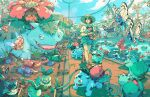 ash_ketchum brock_(pokemon) brown_hair bryce_kho bulbasaur butterfree flower gen_1_pokemon gloom hair_flower hair_ornament hat highres ivysaur magikarp misty_(pokemon) oddish outdoors pokemon pokemon_(creature) sign sun_hat venusaur