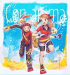 1boy 1girl beanie bike_shorts black_legwear brendan_(pokemon) brown_hair eyelashes fingerless_gloves floating_hair flower gen_3_pokemon gloves green_eyes hanenbo hat jacket long_sleeves may_(pokemon) minun on_head open_mouth pants petals plusle pokemon pokemon_(creature) pokemon_(game) pokemon_on_head pokemon_rse red_bandana red_jacket red_shirt shirt shoes short_sleeves signature skirt socks standing standing_on_one_leg teeth tongue white_skirt yellow_bag yellow_gloves