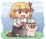 >_< 1girl :d artist_name black_skirt black_vest blonde_hair blue_sky blush chibi clouds commentary_request day eyebrows_visible_through_hair flower grass hair_between_eyes hair_ribbon hands_up head_wreath kneeling looking_down open_mouth outdoors pig red_eyes red_footwear red_neckwear ribbon rokugou_daisuke rumia short_hair skirt sky smile solo touhou touhou_cannonball vest