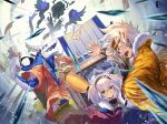1boy 1girl 1other animal_ears black_hairband blue_eyes cape carrying clenched_hand earrings fur_cape fur_trim glasses hairband headband highres holding holding_money horns jewelry lantern money paper_lantern phima pixiv_fantasia pixiv_fantasia_mountain_of_heaven princess_carry tagme white_hair wristband