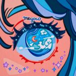 1girl artist_name blue_hair close-up crescent eyes meyoco multicolored_hair original solo sparkle star_(symbol) waves