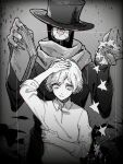 2boys book closed_mouth collared_shirt g_(itsuzono) hand_in_hair hat hitotsume-sama long_sleeves looking_at_viewer male_focus monochrome multiple_boys nonsense_bunkaku_(vocaloid) one-eyed scarf shirt song_name star tamago_(mah) top_hat veins white_hair