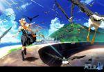 bird blonde_hair boon cat crow dress highres kamio_misuzu key landscape long_hair ocean scenery school_uniform seagull solo sora sora_(air) visualart wind