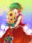 ascot flower green_hair kazami_yuuka kazu_(artist) kazu_(muchuukai) open_mouth plaid plaid_skirt plaid_vest red_eyes short_hair skirt skirt_set smile sunflower touhou