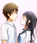 1girl black_hair brown_hair chitanda_eru closed_eyes couple green_eyes hyouka kiss long_hair oreki_houtarou school_uniform serafuku shimoku_reyu short_hair