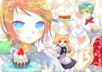 bird birds blonde_hair blue_eyes blue_hair cake food isaki_uta maid orange_hair pastry red_eyes tea.x waiter