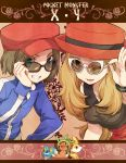 1boy 1girl ;d adjusting_glasses blonde_hair bracelet brown_hair chespin copyright_name female_protagonist_(pokemon_xy) fennekin froakie glasses green_eyes grin hat irouha jacket jewelry long_hair male_protagonist_(pokemon_xy) open_mouth pokemon pokemon_(game) pokemon_xy skirt sleeveless sleeveless_shirt smile sunglasses wink yellow_eyes