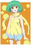 bad_id dress green_hair macross macross_frontier mizuhara_aki open_mouth ranka_lee red_eyes scarf short_hair