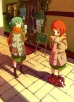 coat food green_hair harepore ice_cream original pants_down red_hair redhead scarf street