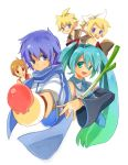 aqua_hair bad_id blonde_hair blue_eyes blue_hair brother_and_sister brown_eyes brown_hair food hatsune_miku headphones ice_cream kagamine_len kagamine_rin kaito kitsuta kizuta long_hair meiko necktie ribbon scarf short_hair siblings spring_onion twintails vocaloid