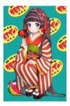 1girl ball bangs black_hair blue_eyes blunt_bangs blush border hand_up highres japanese_clothes kimono long_hair long_sleeves obi original parted_lips patterned_background sandals sash socks solo squatting striped striped_kimono twintails usamochi. very_long_hair white_border wide_sleeves