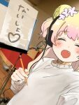 1girl ^_^ bangs blonde_hair blush closed_eyes double_bun fang flower gradient_hair grey_sweater hair_flower hair_ornament headphones heart highres hololive microphone momosuzu_nene momosuzu_nene_(artist) multicolored_hair open_mouth photo_background pink_flower pink_hair selfie smile solo sweater translated two_side_up virtual_youtuber