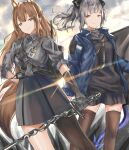 2girls absurdres animal_ears arknights bangs black_gloves black_shirt black_skirt blue_jacket brown_eyes brown_hair brown_legwear commentary feet_out_of_frame fox_ears fox_tail franka_(arknights) gloves grey_shirt grey_skirt highres holding holding_sword holding_weapon horns jacket karanashi_noma left-handed liskarm_(arknights) long_hair looking_at_viewer miniskirt multiple_girls open_clothes open_jacket shirt short_sleeves silver_hair single_leg_pantyhose skirt smile standing sword tail thigh-highs weapon zettai_ryouiki