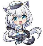 1girl :d animal_ear_fluff animal_ears anmochi bag bangs black_legwear blush braid chibi dress earrings eyebrows_visible_through_hair fox_ears fox_girl fox_tail green_eyes hair_between_eyes hat holding holding_letter hololive jewelry letter long_hair looking_at_viewer open_mouth peaked_cap pentagram shirakami_fubuki shoulder_bag sidelocks single_braid smile solo starter_pokemon tail thigh-highs transparent_background very_long_hair virtual_youtuber white_dress white_hair