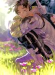 1boy absurdres apex_legends asian black_gloves black_hair black_pants boots crossed_arms crypto_(apex_legends) flower from_side gloves grass green_sleeves grey_eyes grey_jacket hack_(apex_legends) highres jacket kawaniwa looking_at_viewer pants partially_fingerless_gloves pink_flower smile solo squatting sunlight undercut white_footwear