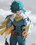 1boy absurdres artist_name bandaged_arm bandages belt blush bodysuit boku_no_hero_academia cape cowboy_shot english_commentary freckles gloves green_bodysuit green_hair hands_up heart highres hood hood_down light_smile looking_to_the_side male_focus midoriya_izuku pants scarf short_hair solo spoilers torn_cape torn_clothes viktoria_ridzel white_gloves yellow_cape