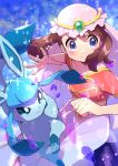 1girl absurdres bangs blue_eyes blurry blush brown_hair clenched_hand closed_mouth collarbone eyelashes floating_hair frills gen_4_pokemon glaceon hands_up highres looking_to_the_side may_(pokemon) paws petals pokemon pokemon_(anime) pokemon_(creature) pokemon_dppt_(anime) pon_yui shiny shiny_hair short_sleeves skirt smile spread_fingers toes