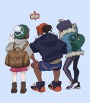 1girl 2boys artist_name backpack bag black_hair black_hoodie black_pants blue_jacket boots brown_bag brown_footwear brown_hair cardigan chiyo_(ppp_808) dark_skin dark_skinned_male dress duffel_bag earrings fur-trimmed_jacket fur_trim gen_4_pokemon gloria_(pokemon) green_bag green_headwear green_legwear grey_cardigan gym_leader hat hood hooded_cardigan hoodie hop_(pokemon) jacket jewelry multiple_boys pants pink_dress plaid plaid_legwear pokemon pokemon_(game) pokemon_swsh raihan_(pokemon) rotom rotom_phone shoes short_hair shorts side_slit side_slit_shorts socks squatting standing symbol_commentary taking_picture tam_o'_shanter undercut v