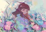 1girl bangs blue_jacket blunt_bangs blush brown_hair flower hair_bun highres holding holding_umbrella hood hood_down idolmaster idolmaster_cinderella_girls jacket jamu_(yakinikuoi4) kamiya_nao long_hair long_sleeves outdoors pink_eyes pink_flower rain solo thick_eyebrows umbrella