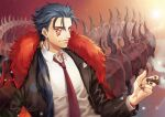 1boy alternate_costume beads black_nails blue_hair cigar closed_mouth coat collared_shirt cu_chulainn_(fate)_(all) cu_chulainn_alter_(fate/grand_order) dark_blue_hair dark_persona earrings facepaint fate/grand_order fate_(series) formal fur-trimmed_jacket fur_trim hair_beads hair_ornament jacket jewelry kuzen long_hair long_sleeves looking_at_viewer male_focus monster_boy nail_polish necktie open_clothes open_jacket overcoat ponytail red_eyes shirt signature smile smoke smoking solo spikes spiky_hair suit tail