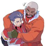 2boys ;d blush commentary_request dark_skin dark_skinned_male facial_hair fur-trimmed_jacket fur_trim gloves green_(grimy) green_eyes green_gloves grey_hair gym_leader highres jacket kabu_(pokemon) male_focus multiple_boys one_eye_closed open_mouth orange_jacket parted_lips peony_(pokemon) pokemon pokemon_(game) pokemon_swsh red_shirt shirt short_hair short_sleeves simple_background smile teeth tongue towel towel_around_neck undershirt very_short_hair white_background