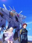 1boy 1girl apple_field arm_under_breasts blonde_hair blue_eyes breasts brown_eyes brown_hair capelet dress floating_hair gigi_andalusia green_eyes gundam gundam_hathaway's_flash hair_behind_ear hand_on_own_head hathaway_noa highres looking_to_the_side mecha mobile_suit pilot_suit science_fiction small_breasts standing v-fin white_capelet white_dress xi_gundam