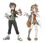 1boy 1girl absurdres asymmetrical_hair bag bow bracelet brendan_(pokemon) capelet grey_shorts hair_bow handbag highres holding holding_poke_ball hyo_oppa jacket jewelry labcoat may_(pokemon) no_hat no_headwear older poke_ball pokemon pokemon_(game) pokemon_oras red_shirt sandals shirt shoes shorts