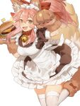 1girl :d absurdres animal_ears apron bell blush breasts dress fang fate/extra fate/grand_order fate_(series) food foot_out_of_frame fox_ears fox_girl fox_tail frilled_dress frills gloves hamburger highres holding holding_plate horikwawataru jingle_bell large_breasts long_hair looking_at_viewer maid_apron maid_headdress neck_bell open_mouth paw_gloves paw_pose paws pink_hair plate ponytail sidelocks smile socks solo sparkle tail tamamo_(fate)_(all) tamamo_cat_(fate) thigh-highs yellow_eyes