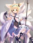 absurdres animal_ears arknights artist_name belt blonde_hair english_commentary fox_ears fox_tail gloves green_eyes grey_background headband headphones highres looking_at_viewer multiple_tails redn_art shoes short_hair simple_background staff suzuran_(arknights) tail