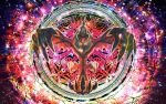 absurdres claws colorful commentary commentary_request gen_6_pokemon glowing glowing_eyes highres huge_filesize legendary_pokemon looking_at_viewer multicolored multicolored_background no_humans pokemon pokemon_(creature) pokemon_(game) pokemon_swsh sparkle sparkle_background tagme wings yama_neko_3 yveltal