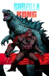character_request clenched_hands copyright_name dan_mora english_commentary godzilla godzilla_(series) godzilla_vs_kong gorilla highres kaijuu king_kong king_kong_(series) looking_at_viewer looking_up no_humans open_hands open_mouth red_eyes scar sharp_teeth teeth